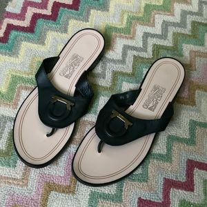 Salvatore Ferragamo Black Leather Sandals 8.5